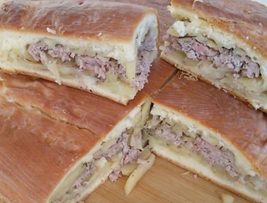 пирог с мясом в духовке простой рецепт